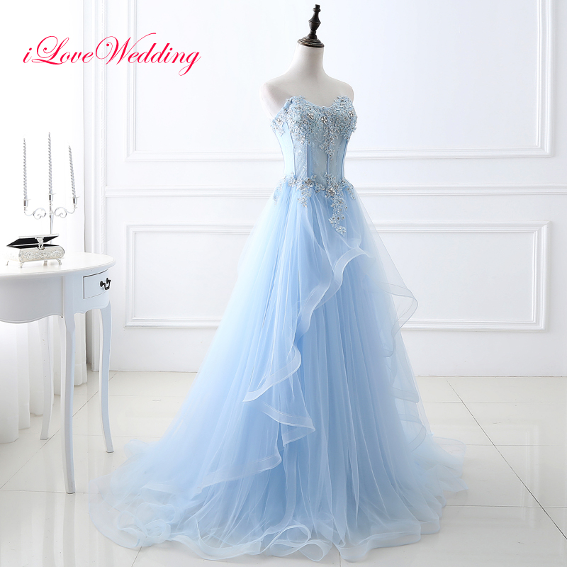 Elegant Light Blue   Evening     Dresses   Sweetheart A line Floor Length Long Tulle Lace Applique Beading Women Formal Party Gowns 2019
