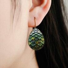 Water-Drop-Earrings Dragon Jewelry Egg-Teardrop Women Glass for Gifts Scale Green
