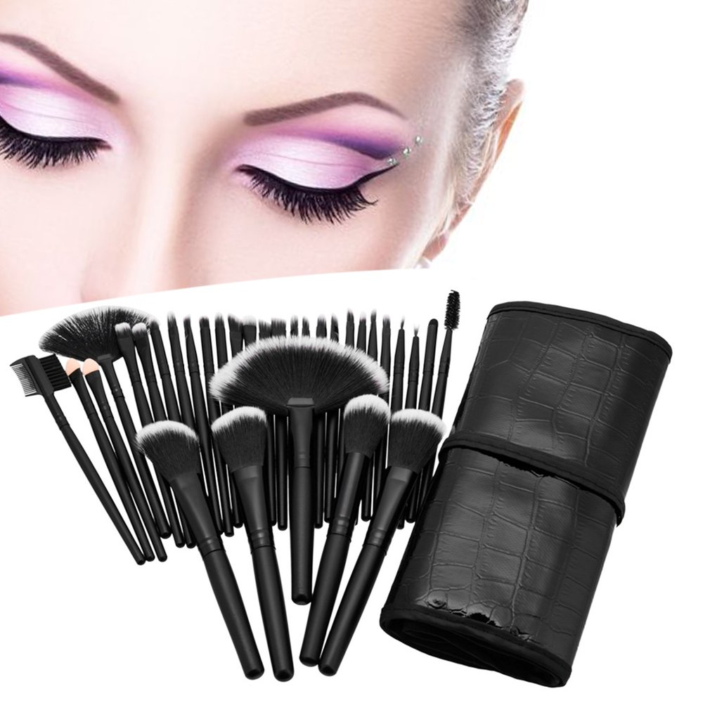 32 pcs/set Professional Makeup Brushes Cosmetic Set Eyebrow Face Cheek Blush Foundation Powder Make up Brush With Black Case 24pcs makeup brushes set cosmetic make up tools set fan foundation powder brush eyeliner brushes leather case with pink puff