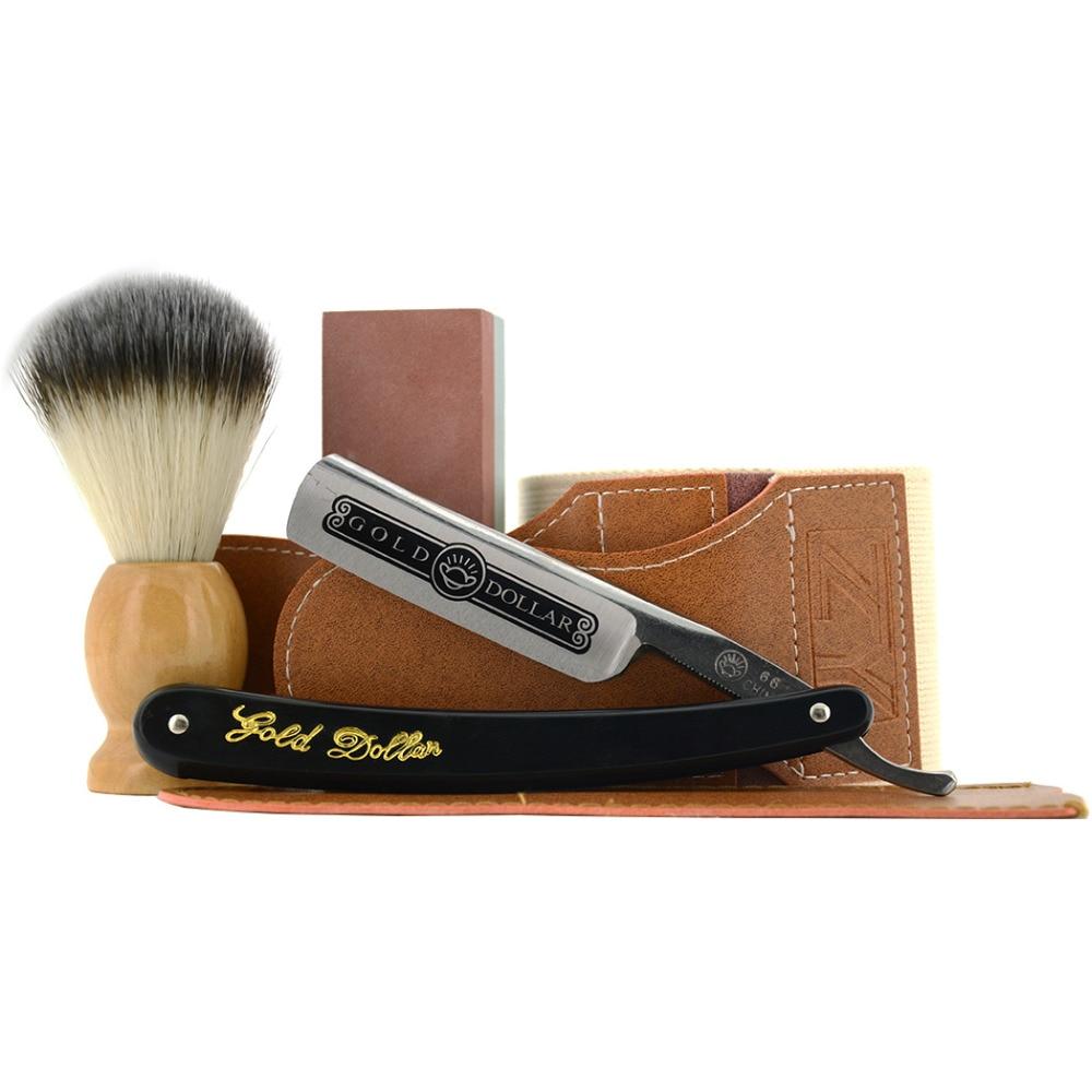 Gold Dollar Straight Shaving Razor Set Leather Sharpening Strop Whetstone Stone Nylon Shaving Brush For Barber Men sharpening shaving leather strop board for barber straight razor knife