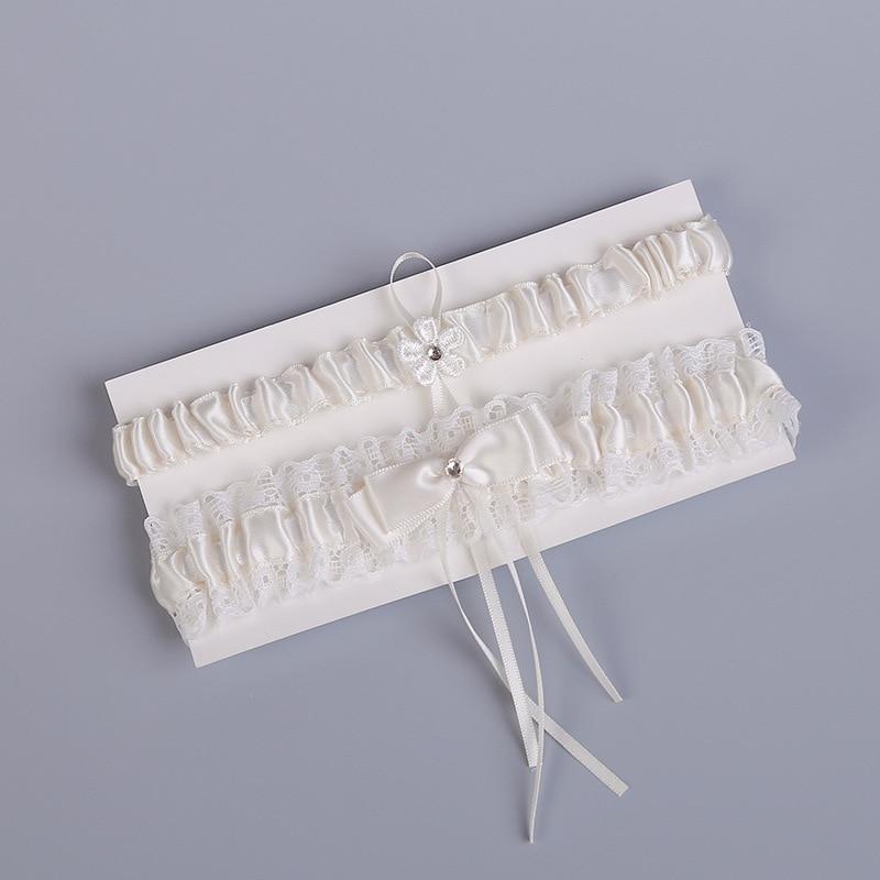Wedding Garter Rhinestone White Lace Flower Bow Sexy