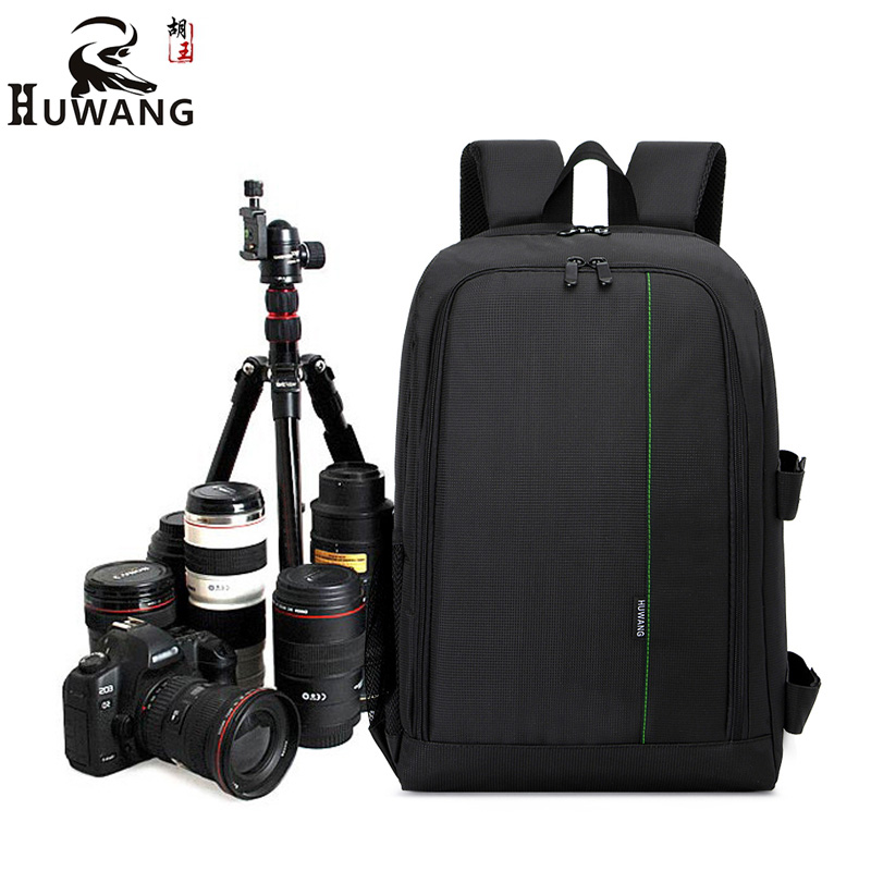 HUWANG Upgrade Waterproof DSLR Photo Padded Backpack w/ Rain Cover for 15.6 Laptop Multi-functional Camera Soft Bag Video Case