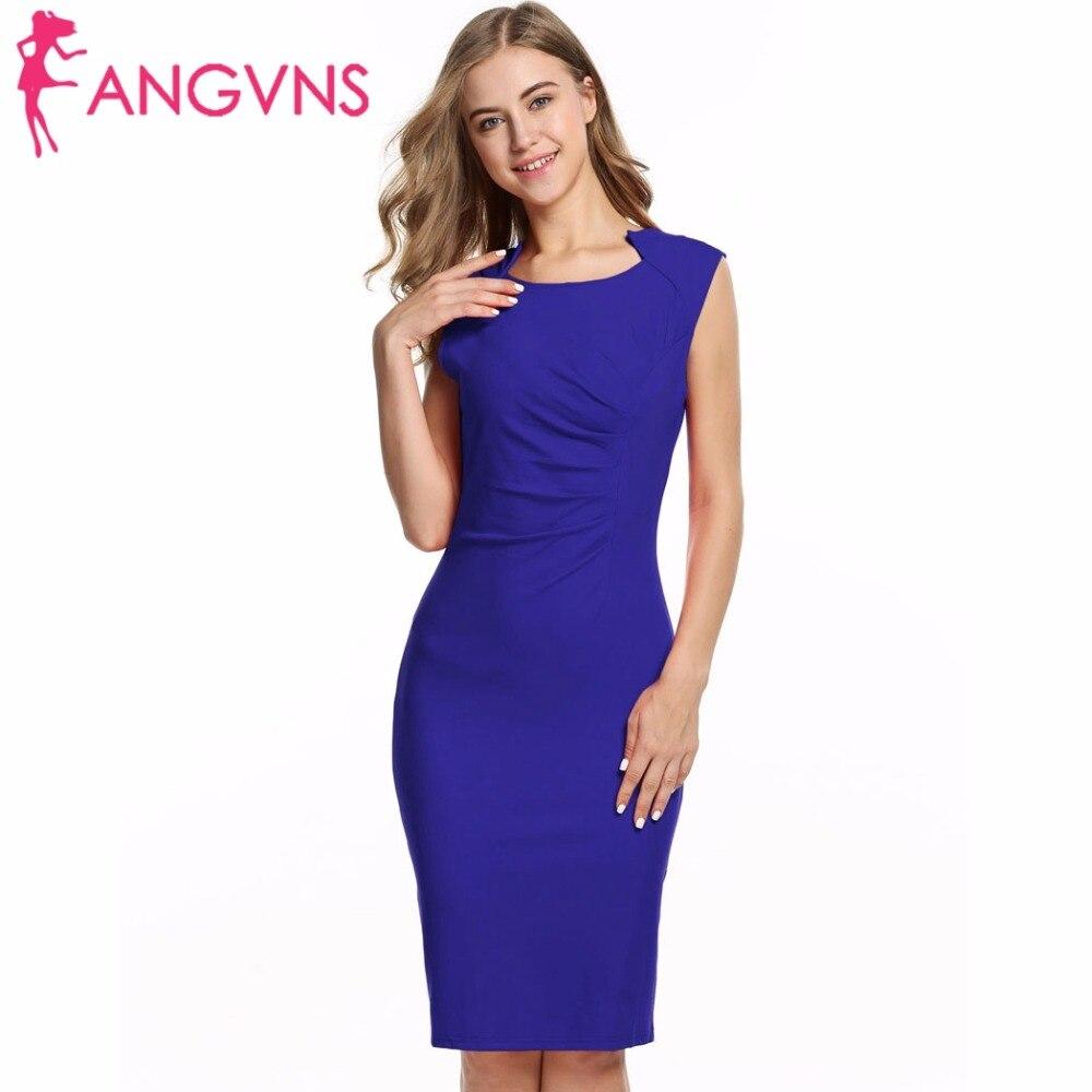 ANGVNS 2018 Women Office Dress Brand Bodycon Knee Length Elegant Summer Pencil Dress Package Hip Dresses Work Ladies Vestidos
