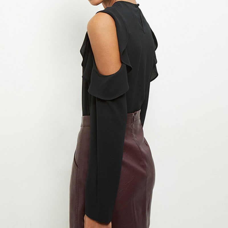 SEBOWEL 2019 женские шифоновые блузки без бретелек с длинным рукавом рубашка новая осенняя блузка женская плюс размер 5xl 6xl топы Женская одежда