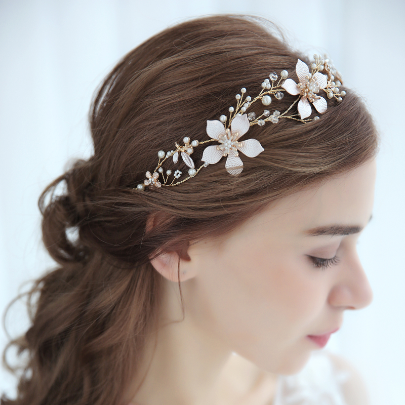 SLBRIDAL Handmade Gold Wired Crystal Rhinestone Pearls Flower Wedding Hair Vine Headband Bridal Headpiece Hair accessories Women недорого