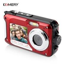 KOMERY מקורי כפול מסך דיגיטלי עמיד למים מצלמה/מצלמת וידאו 1080 P 2000 W פיקסל 16X דיגיטלי זום HD עצמי  טיימר פנים זיהוי