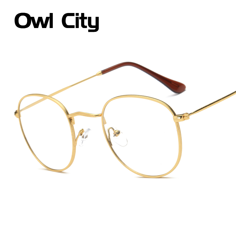 Fashion Women Eyeglasses Frame Clear Lens Eyewear Unisex Retro Glasses Metal Temples Nerd Transparent Frames Spectacle Optical