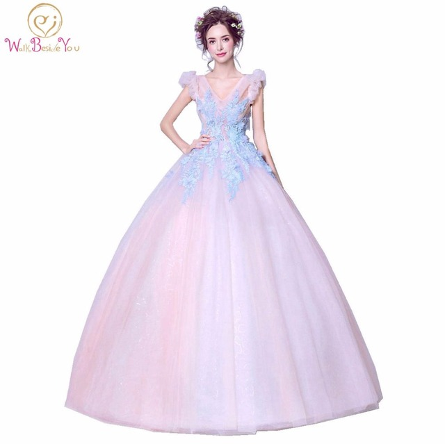 Stock Fast Delivery Prom Dresses Puffy Pink Party Gown vestido graduacion Blue Lace Applique Floral Long vestido longo formatura-in Prom Dresses from ...