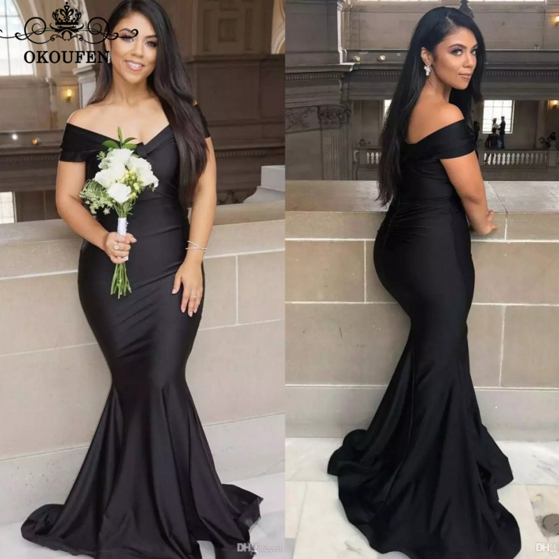 Black Mermaid Long Bridesmaid Dresses 2020 Robe Demoiselle D'honneur Off Shoulder Wedding Guest Dress For Women