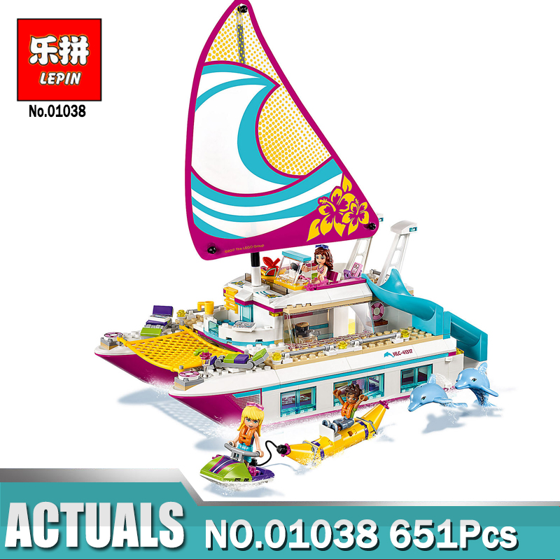 Lepin 01038 Friends Sunshine Catamaran Dolphins Olivia Stephanie Girl Building Block Compatible with Legoing 41317 Brick Toy figures houses girl friends stephanie mia olivia andrea emma andrea blocks learning toy gift compatible with with friends gift