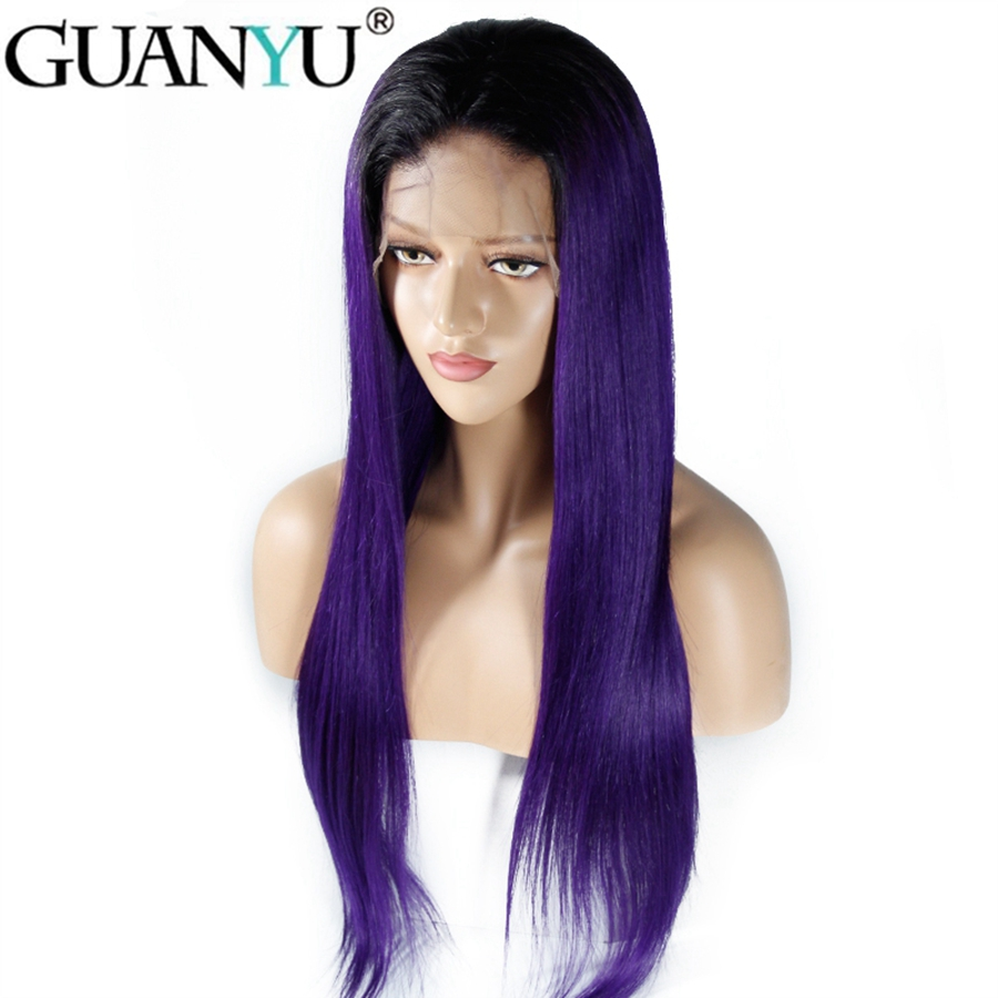 Pre-plucked Ombre #1B/Purple Brazilian Remy Human Hair 13*4 Lace Front Wigs Straight 130% Density Free Part For Women Guanyuhair