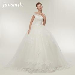 Fansmile Бесплатная доставка Винтаж Белые Длинные свадебные платья 2019 Свадебные платья Noivas плюс Размеры Свадебные платья FSM-121T