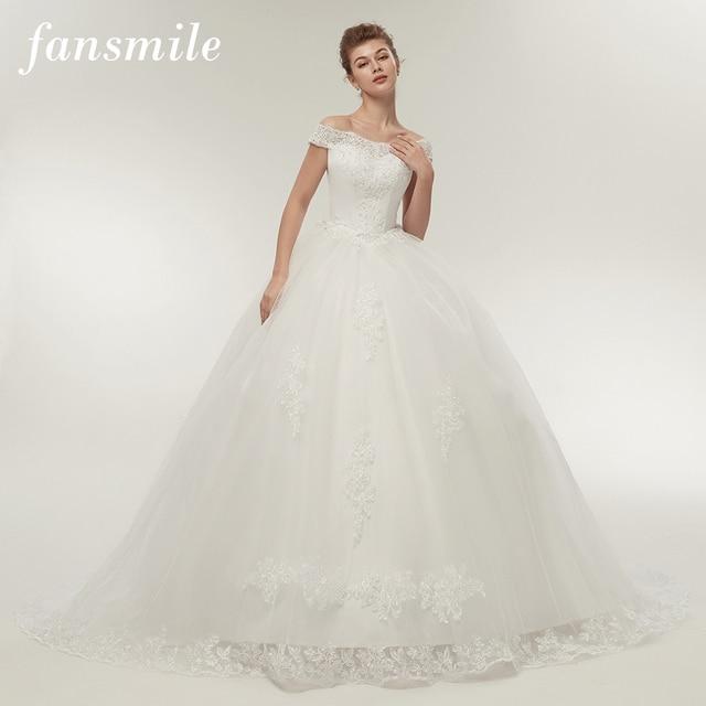 Fansmile Vestidos de Noivas Vintage White Long Train Wedding Dresses 2019 Plus Size Customized Lace Ball Bridal Gowns FSM-121T 1