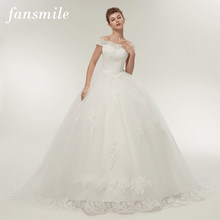 Fansmile Free Shipping Vintage White Long Train Wedding Dresses 2019 Vestidos de Noivas Plus Size Bling Bridal Gowns FSM-121T(China)