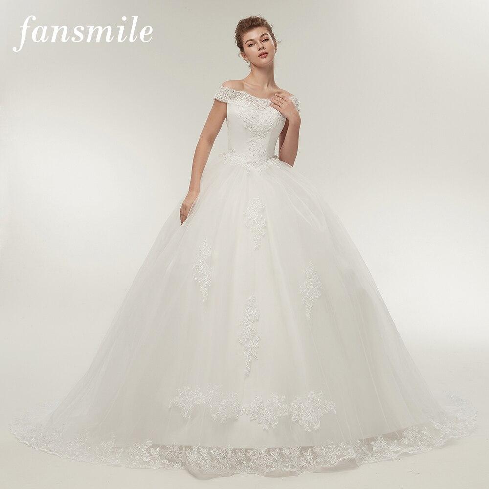 Fansmile Frete Grátis Branco Longo Trem Vestidos de Noiva 2019 Vestidos de Noivas Do Vintage Plus Size Vestidos de Noiva Bling FSM-121T