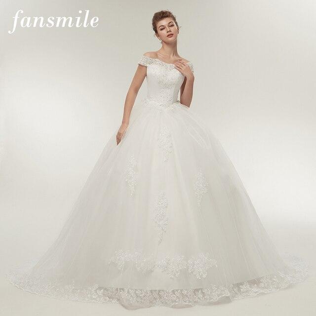 Fansmile Vestidos דה Noivas Vintage לבן ארוך רכבת שמלות כלה 2019 בתוספת גודל מותאם אישית תחרה כדור כלה שמלות FSM-121T