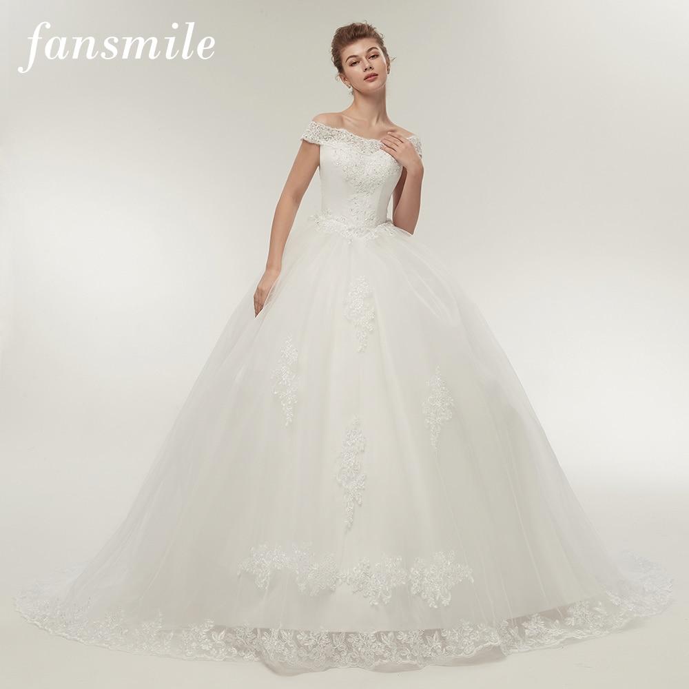 Fansmile Vestidos De Noivas Vintage White Long Train Wedding Dresses 2020 Plus Size Customized Lace Ball Bridal Gowns FSM-121T