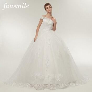 Fansmile Vestidos de Noivas Vintage White Long Train Wedding Dresses 2020 Plus Size Customized Lace Ball Bridal Gowns FSM-121T - discount item  5% OFF Wedding Dresses