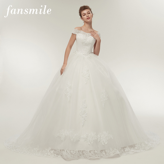 Fansmile Vestidos de Noivas Vintage White Long Train Wedding Dresses 2020 Plus Size Customized Lace Ball Bridal Gowns FSM 121T