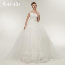 Fansmile Vestidos de Noivas Vintage białe długie suknie ślubne z trenem 2020 Plus rozmiar spersonalizowany koronkowe suknie ślubne FSM 121T