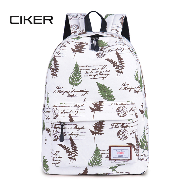 990a83ecfd60 US $18.99 50% OFF|CIKER Women leaves printing backpack for teenage middle  schoolbags mochila rucksack laptop backpacks escolar bookbag canvas bags-in  ...