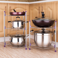 3 Layer Storage Holder Kitchen Metal Racks for Pot/Pan Shelf Multi functional Installation Bathroom High Quality