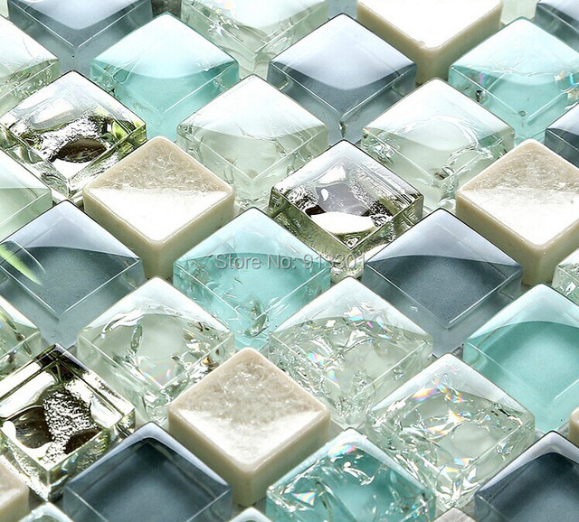 Crystal Glass Tile Sheets Crackle Bathroom Wall Stickers Ceramic - Ceramic and glass tile store
