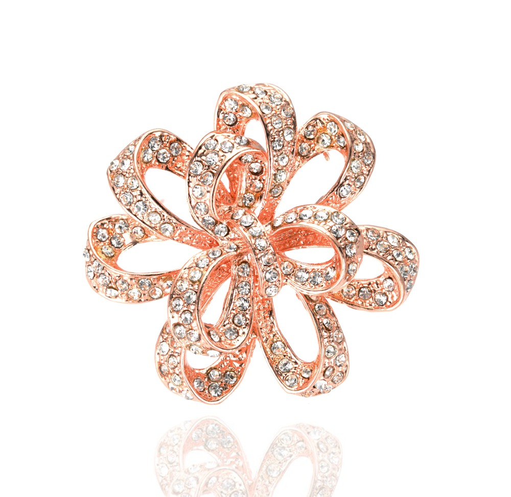 ᓂ2 Inch CZ Crystal Large Flower Diamante Party Brooch Prom Jewelry ... 67f525762d0d