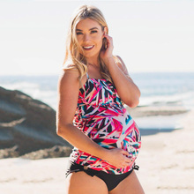 2018 New Print Maternity Swimwear Women Pregnant Tankini Set Pregnancy Two Pieces Swimsuit Plus Size Beach Bathing Suit S-5XL