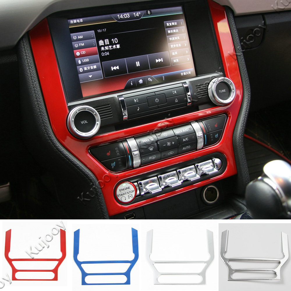 4 Colors ABS Car Radio Dashboard GPS Frame Panel Cover Navigation Frame Cover Trim Stickers For Ford Mustang 15 2016 Car Styling mopai abs car interior gps panel frame