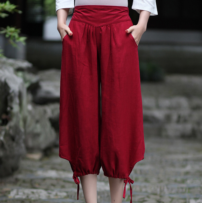 New Red Summer Cotton Linen Women Capris   Pants     Wide     Leg     Pants   Elastic Waist Calf-Length Trousers S M L XL XXL 2609-1