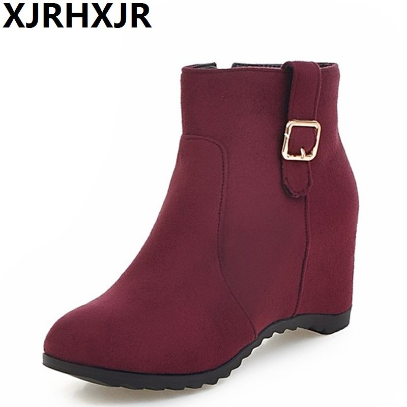 XJRHXJR 2018 New Big Size 34-43 Women Ankle Boots Round Toe Autumn Fashion Casual Shoes Buckle Brand Boots Winter Snow Boots цены онлайн