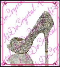 Aidocrystal pearl silver white crystal bridal wedding shoes summer peep toe high heel sandals