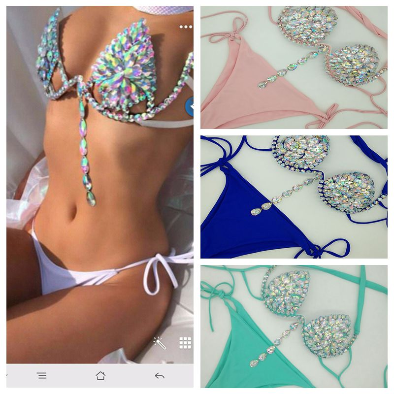 2019 Venus Vacation Diamond Sexy Women Bikini Set Bandage Swimwear Solid Color Beachwear Rhinestone Crystal Swimsuit Beachwear