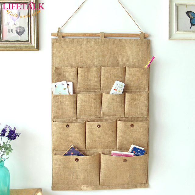 13 Pockets Big Size Jute Naturally Letters Wall Hanging Storage Bags ...