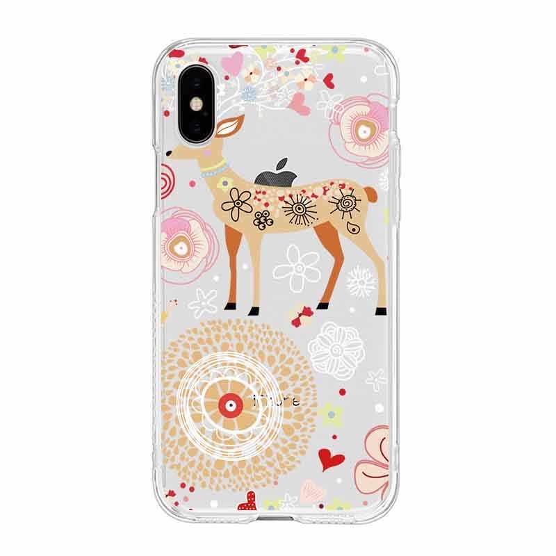 Évider dessin animé cerf poisson lapin ours canard doux TPU téléphone étui pour iPhone 6 6 S Plus 7 7 Plus 8 Plus iPhone X 5 s 4 s C209