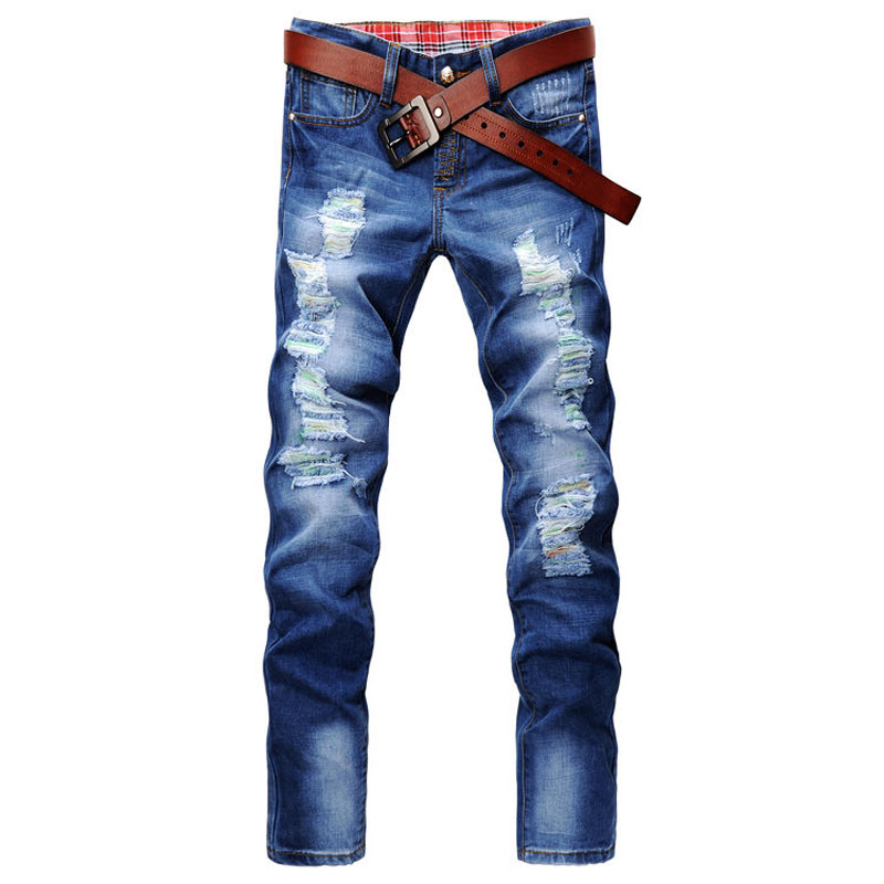 ФОТО Hot Sale Mid Hole Solid Straight Denim Pants Slim Jeans Homme 2017 Casual Retro Holes Classic Ripped Jeans Cotton Light Blue