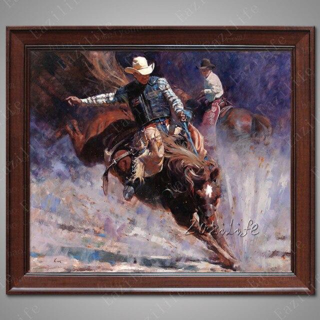 Hand bemalte leinwand lbilder western cowboy lbild auf leinwand wandbilder f r wohnzimmerwand - Bemalte leinwande ...