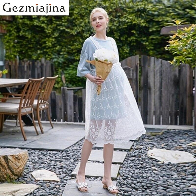 2018 Summer pregnancy wear Maternity dress New fashion lace hollow high waist pregnant women dress two sets Long skirt