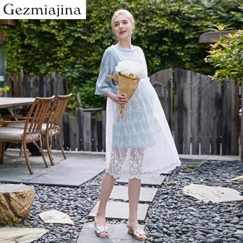 2019 ग्रीष्मकालीन गर्भावस्था पहनने मातृत्व पोशाक नई फैशन फीता खोखले उच्च कमर गर्भवती महिलाओं की पोशाक दो सेट लंबी स्कर्ट