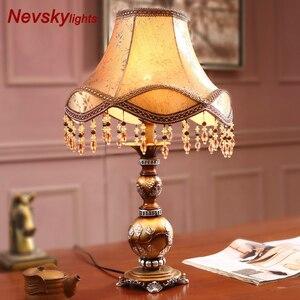 Image 2 - モダンな装飾樹脂テーブルランプの寝室の家の装飾の寝具装飾ブロンズベースデスクライトヨーロッパテーブル器具生地シェード