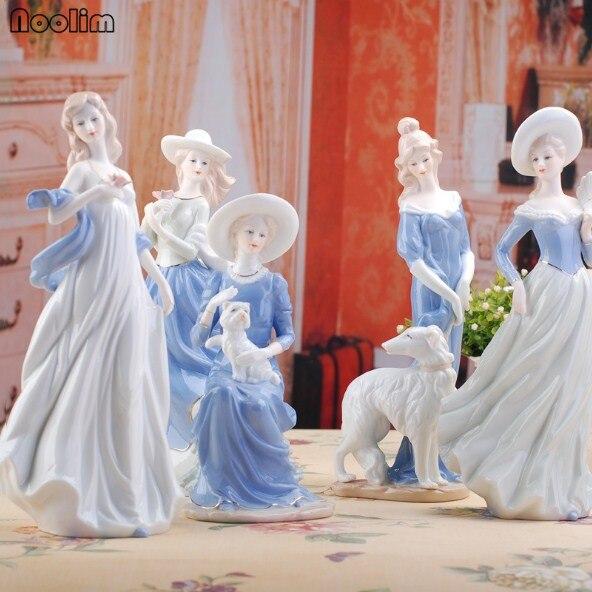 Noolim high grade deusa meninas senhora estatuetas de cerâmica decoração para casa artesanato decoração do quarto casamento ornamento porcelana estátua