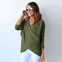 Deep V Neck Sweaters Women Plus Size Long Sleeve Pullover Sweater Oversize Baggy Loose Jumper Tops