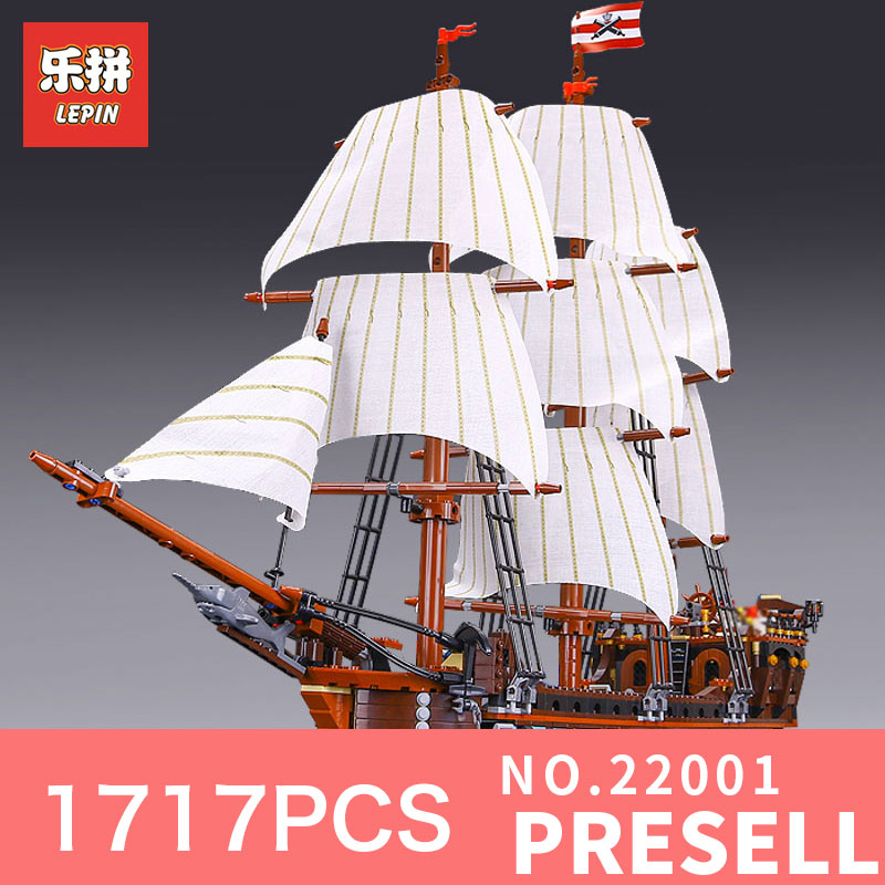 LEPIN 22001 1717Pcs The movies series Pirate Ship warships Model Building Block Briks Educational Toys Model Compatible 10210 lepin 22001 pirates series the imperial flagship model building blocks set pirate ship legoings toys for children clone 10210