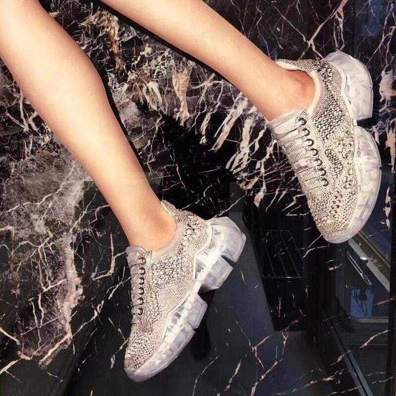 Plat Bling Strass Chaussures Baskets forme Femme Bing Sport Sneakers Fond Diamants Lacets Plate Cristal Maille À Sneaker De qpExvxwdz