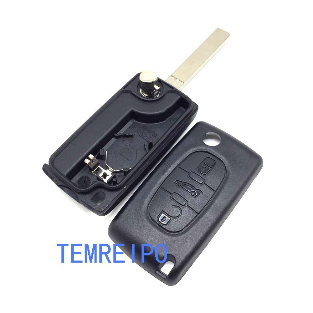 10pcs/lot 3 buttons flip key case trunk button Flip Remote Car Key Case Cover Shell Fob for Citroen (With battery place) image