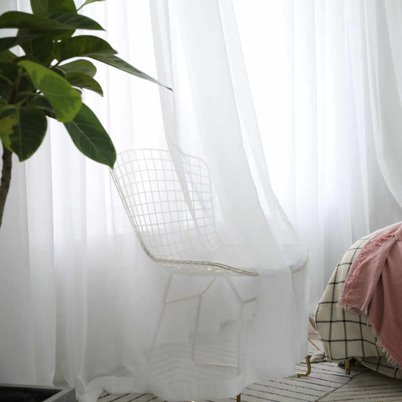 Tende bianche Solido Bianco di Tulle Tende Moderne per Soggiorno Trasparente Tende di Tulle Finestra Pura per la Camera Da Letto 184 e 30