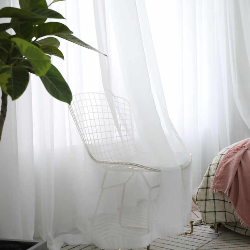 Weiß Vorhänge Solide Weiß Tüll Moderne Vorhänge für Wohnzimmer Transparent Tüll Vorhänge Fenster Sheer für die Schlafzimmer 184 & 30