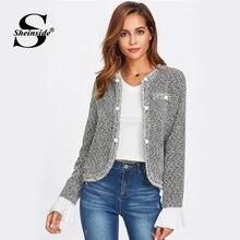 Sheinside Contrast Ruffle Cuff Curved Tweed Blazer Women Collarless Single Breas
