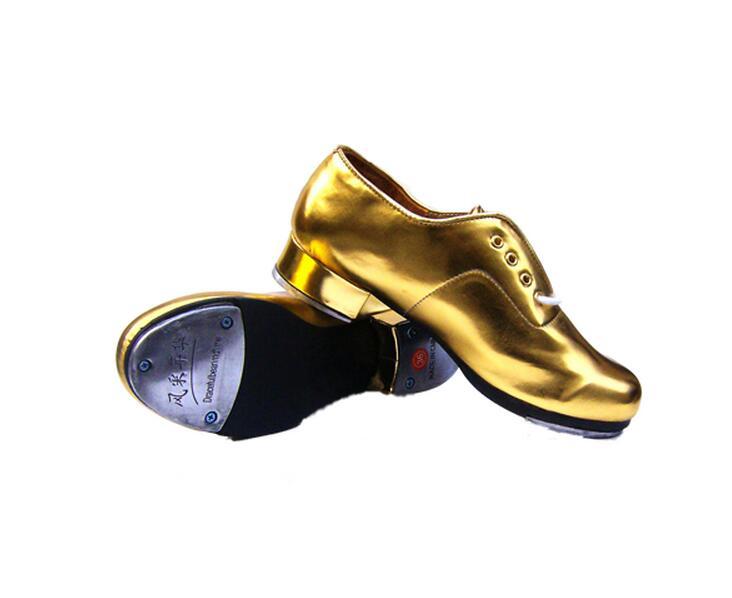 Tap Shoes Hard Bottom Tap Scarpe per uomo Donne Sezione Adult Bambini Scarpe da ballo Scarpe da ballo in pelle Scarpe da ginnastica in argento dorato